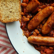 Cowboy-style bangers and beans